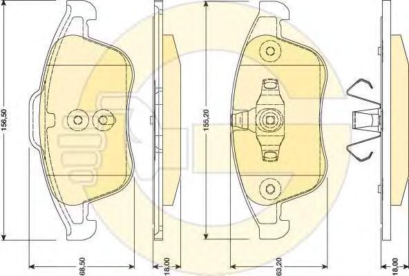 6118082 Колодки тормозные RENAULT LAGUNA III 2.0/2.0D 07- передние