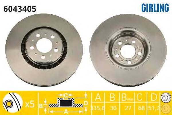 6043405 Диск тормозной VOLVO XC90 02 R17 передний вент. D=336мм