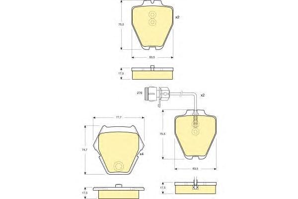 6113711 Колодки тормозные AUDI A6/A8 96-05 передние 8шт.с датчиком