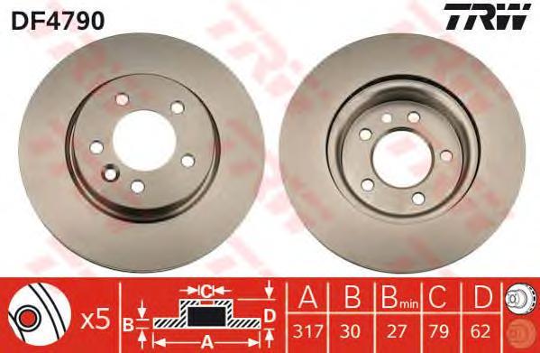 DF4790 Диск тормозной LAND ROVER DISCOVERY 2.7D 04-/RANGE ROVER SPORT 2.7D 05- передний