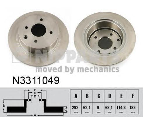 N3311049 Диск тормозной NISSAN TIIDA 07- задний