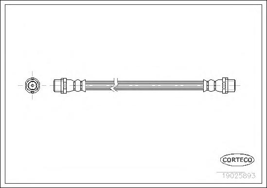 19025893 Шланг тормозной AUDI: A6 1.8/1.8 T/1.9 TDI/2.4/2.5 TDI/2.7 T/2.8/3.7 97-05, A6 Avant 1.8/1.8 T/1.9 TDI/2.0/2.4/2.5 TDI/