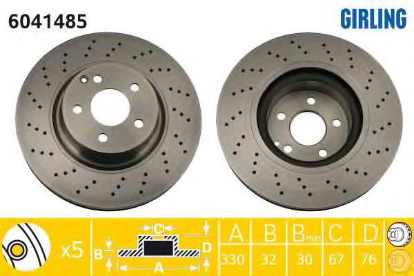 6041485 Диск тормозной MERCEDES W220 320-500/C215 500-600 передний D=330мм.
