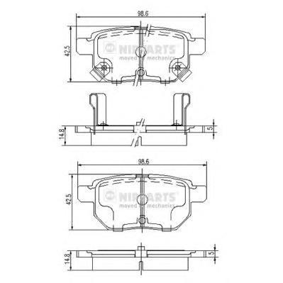 J3612034 Колодки тормозные TOYOTA COROLLA 1.4 VVT-I 02/AURIS 1.6/1.4 07 задние