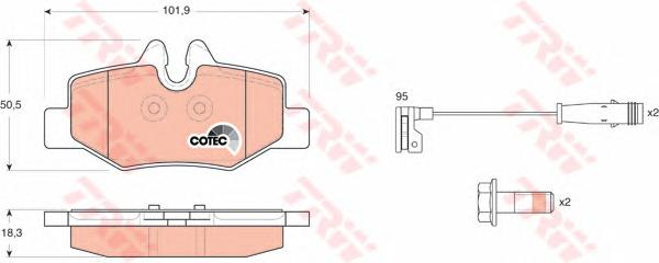 GDB1601 Колодки тормозные MERCEDES VIANO/VITO W639 03- задние с датч.