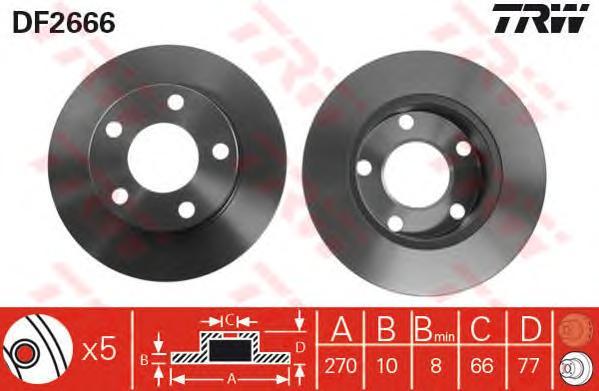DF2666 Диск тормозной AUDI 100/200 83-91/A8 94-00 задний D=245мм.