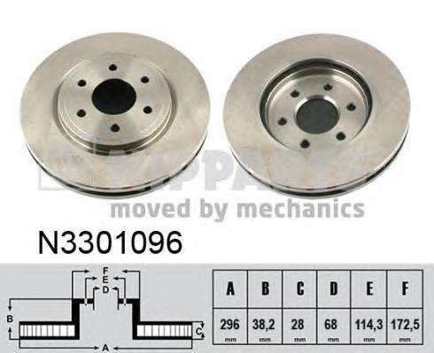 N3301096 Диск тормозной NISSAN PATHFINDER (R51) 05/NAVARA 05 (R16) передний
