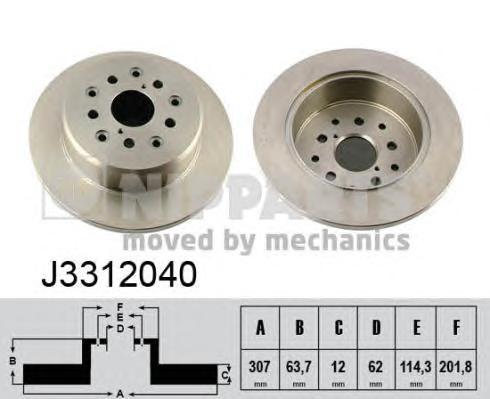 J3312040 Диск тормозной LEXSUS GS 3.0-4.3 97-05/IS 2.0-3.0 99- задний D=307мм.