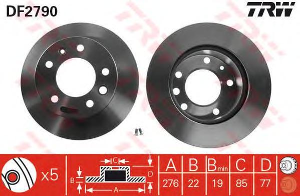 DF2790 Диск тормозной MERCEDES SPRINTER 9506/VW LT 28-46 9506 передний вент.