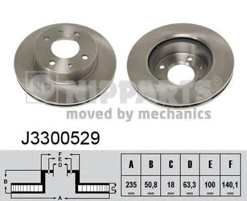 J3300529 Диск тормозной HYUNDAI ATOS 1.0-1.1 99- передний вент.D=234мм.