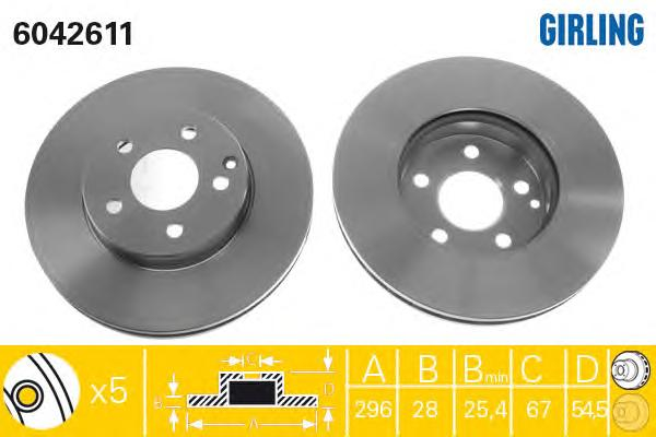 6042611 Диск тормозной MERCEDES W211 200-320 передний D=295мм.
