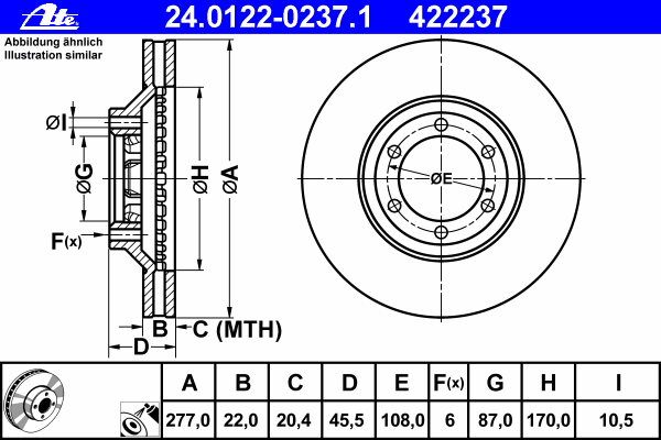 24012202371 Диск тормозной передн, HYUNDAI: GALLOPER II 2.5 TCi D/2.5 TD/2.5 TD intercooler/2.6 TD 4WD/3.0 V6 98-03  MITSUBISHI: