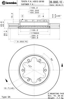 09B06310 Диск тормозной TOYOTA HIACE 05- передний вент.D=285мм