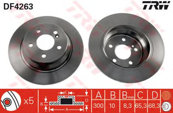 DF4263 Диск тормозной MERCEDES W211/W212 200-350 задний D=300мм.