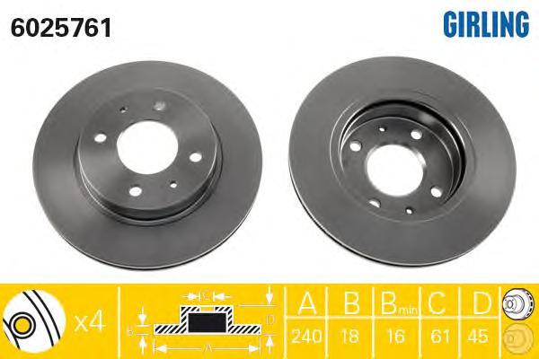 6025761 Диск тормозной NISSAN SUNNY 82-00 передний вент.D=240мм.