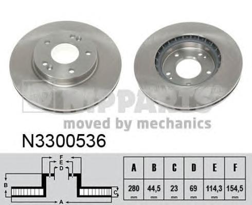 N3300536 Диск тормозной HYUNDAI VELOSTER передний вент. 11-