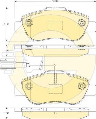 6117464 Колодки тормозные FIAT 500 07-/DOBLO 01-/PANDA 09-/QUBO 08- передние
