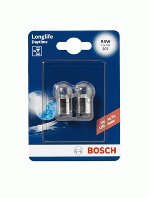 1987301058 Комплект ламп накаливания блистер 2шт R5W 12V 5W BA15s Longlife Daytime (увеличенная светоотдача на 10% и увеличенный