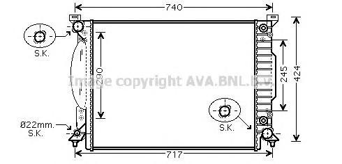 AI2205 Радиатор системы охлаждения AUDI: A4 (8E2, B6) 3.0/3.0 quattro 00 - 04 , A4 Avant (8E5, B6) 3.0/3.0 quattro 01 - 04 , A6