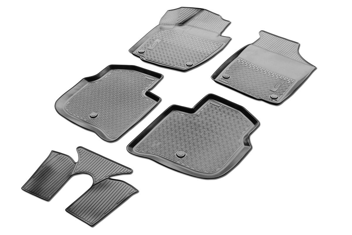 0015102001 Комплект автомобильных ковриков Skoda Rapid 2013- , полиуретан, низкий борт, 5 предметов, крепеж для передних ковров