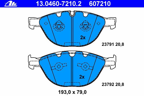 13046072102 Колодки тормозные дисковые передн, BMW: 5 535 d/540 i/550 i/M 03-10, 5 Touring 535 d/550 i/M 04-, 6 635 d/650 i/M 04