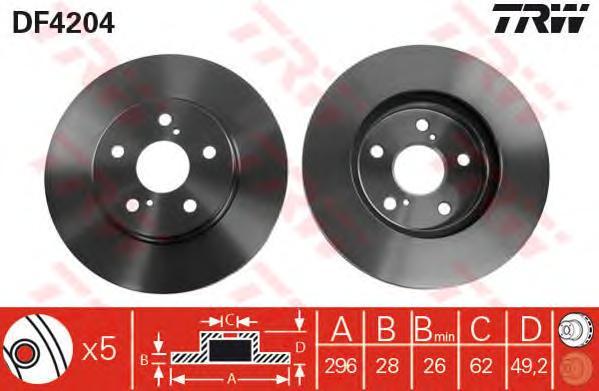 DF4204 Диск тормозной TOYOTA CAMRY (V30) 2.4/3.0 01-06 передний вент.