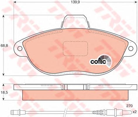 GDB1216 Колодки тормозные CITROEN JUMPY 95-/PEUGEOT 806/EXPERT 96- передние