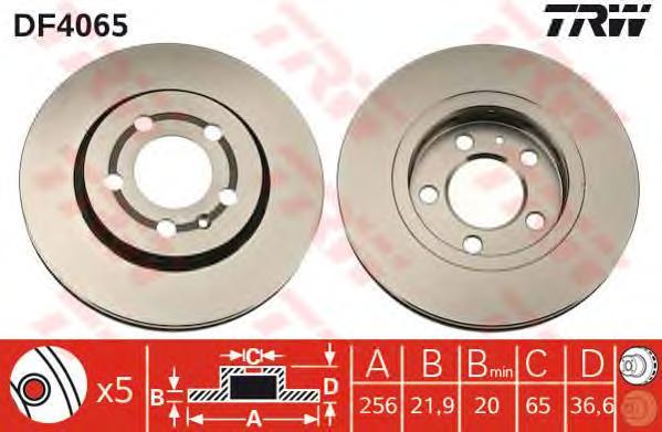 DF4065 Диск тормозной задн AUDI: A3 99-, TT 06-, TT 98-, TT Roadster 99-,  SEAT: LEON 99-, LEON 05-, TOLEDO II 99-06,  SKODA: OC