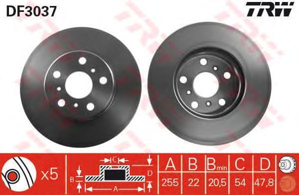 DF3037 Диск тормозной TOYOTA CAMRY 86-91/CARINA II 87-93 передний D=255мм.
