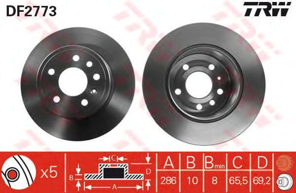 DF2773 Диск тормозной OPEL VECTRA 95-03/SAAB 900 93-98/9-3 98-03/9-5 98- задний