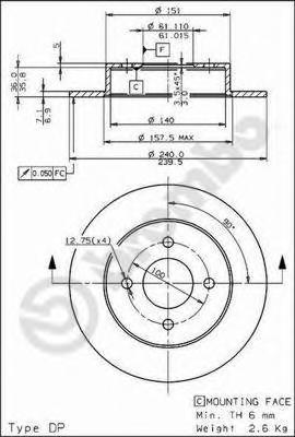 08735510 Диск тормозной задн NISSAN: MICRA 92-03