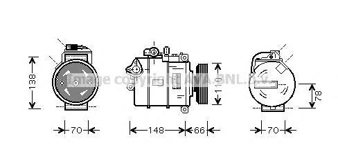 AIAK247 Компрессор кондиционера AUDI: A6 (4B, C5) 1.9 TDI 97-05, A6 AVANT (4B, C5) 1.9 TDI 97-05