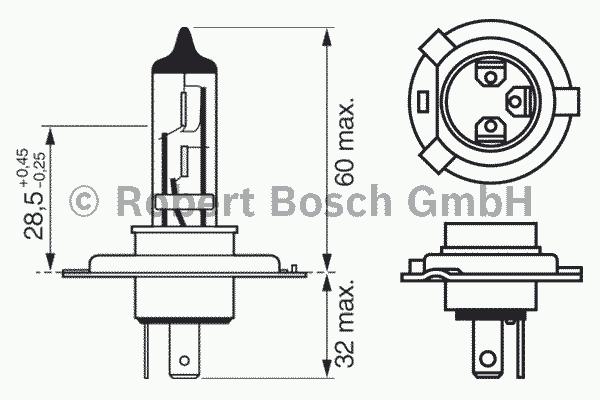 1987302041 Лампа H4 60/55W P43t Pure Light