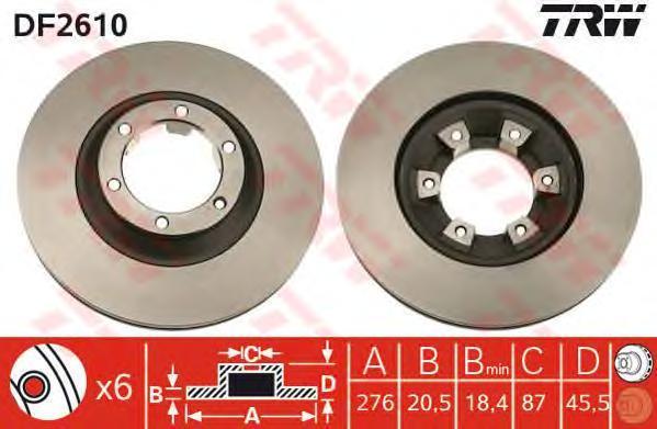 DF2610 Диск тормозной MITSUBISHI PAJERO I 2.3-2.6 82-90 передний