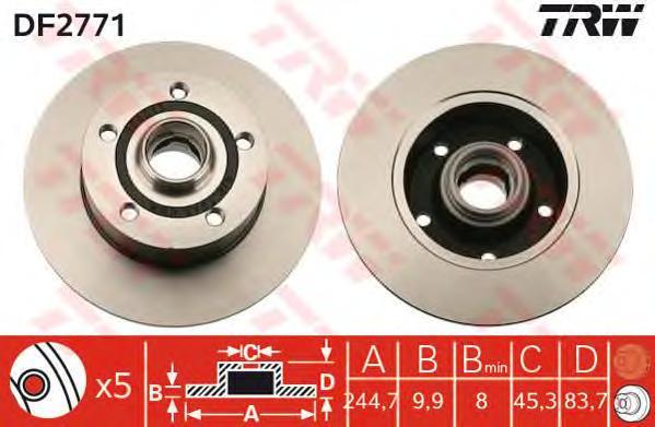 DF2771 Диск тормозной AUDI A4 1.6-2.8 95-01 задний D=245мм.