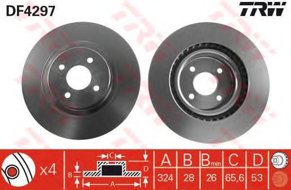 DF4297 Диск тормозной передн FORD: FOCUS 02-04