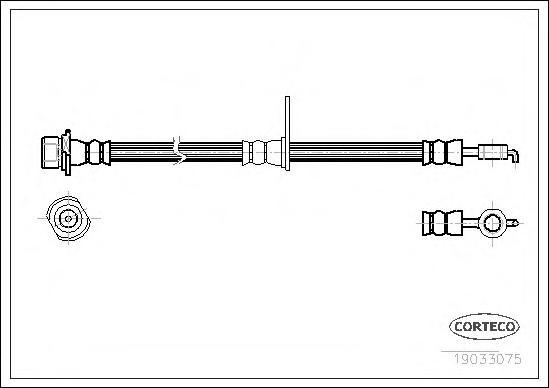 19033075 Шланг торм. Fr R TO Corolla 02- 590 мм