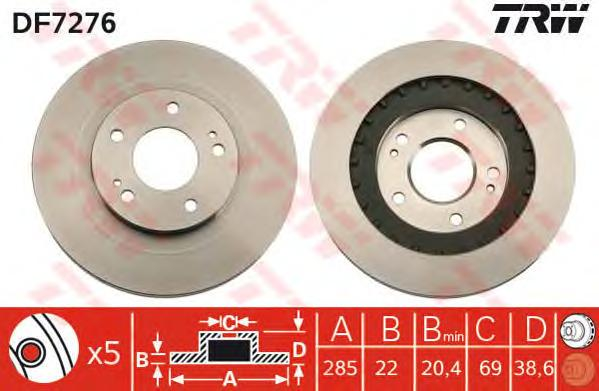 DF7276 Диск тормозной MITSUBISHI PAJERO PININ 99- передний вент.D=285мм.