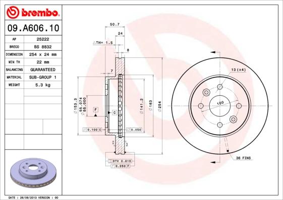 09A60610 Диск тормозной KIA RIO 00-05 передний вент.D=254мм.