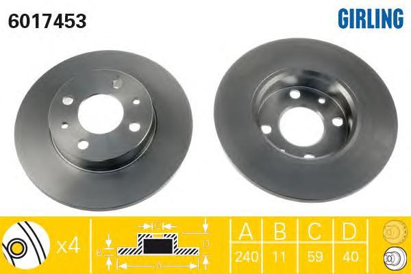 6017453 Диск тормозной ALFA ROMEO 86-01 передний/FIAT 88- передний/задний
