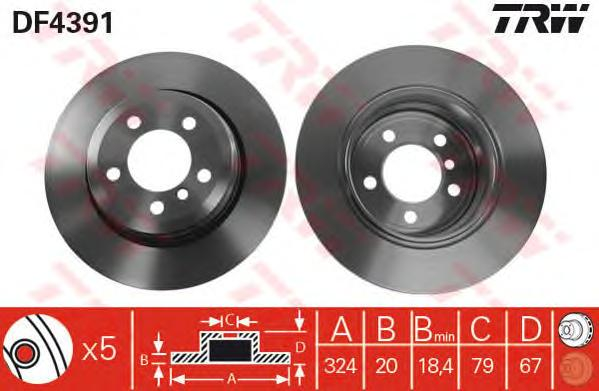 DF4391 Диск тормозной BMW 7 E65/66 730-735 01- задний D=324мм.