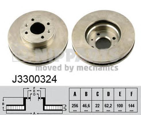 J3300324 Диск тормозной HYUNDAI ACCENT 05-/i20 08-/KIA RIO II 05- передний вент.