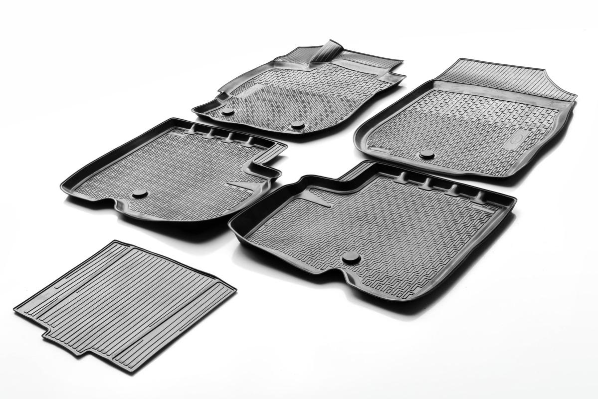0014101001 Комплект автомобильных ковриков Nissan Almera 2013- , полиуретан, низкий борт, 5 предметов, крепеж для передних ковро