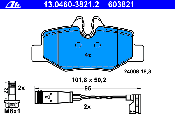 13046038212 Колодки тормозные дисковые задн, MERCEDES-BENZ: VIANO 3,0/3.2/3.5/3.7/CDI 2.0/CDI 2.0 4-matic/CDI 2.2/CDI 2.2 4-mati