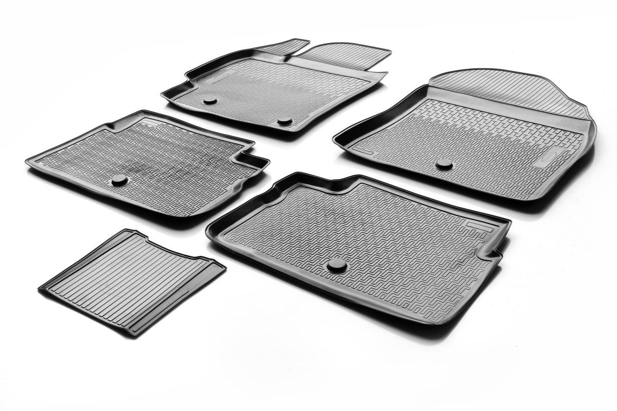 0015702001 Комплект автомобильных ковриков Toyota Corolla 2013- , полиуретан, низкий борт, 5 предметов, крепеж для передних ковр