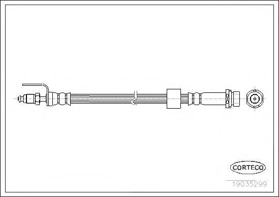 19035299 Шланг тормозной FORD: TRANSIT c бортовой платформой 2.2 TDCi/2.4 TDCi/2.4 TDCi 4x4/3.2 TDCi 06-, TRANSIT автобус 2.2 TD