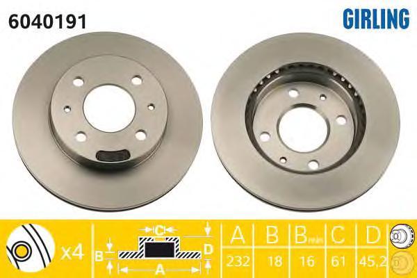 6040191 Диск тормозной NISSAN ALMERA (N15) 1.4 95-00 передний вент.D=232мм.