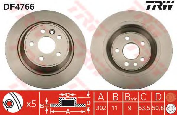 DF4766 Диск тормозной FORD GALAXY 06-/KUGA 08-/MONDEO 07-/S-MAX 06- задний