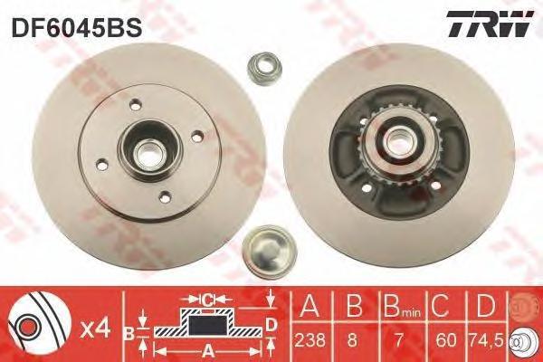 DF6045BS Диск тормозной RENAULT CLIO II 98- задний СБ с подшипником,с АБС