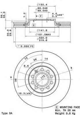 09A59811 Диск тормозной AUDI A4 2.0-3.2 04-/A6 1.8-4.2 97-05/A6 ALLROAD 00-05 передний